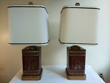 New ListingPair Vintage Frederick Cooper Wildwood Asian Tea Canister Lamps Tin Caddy Orient
