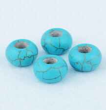20pcs Blue Turquoise Stone Big Hole Spacer Loose Beads For Bracelet Necklace