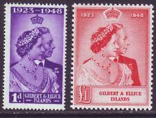 Gilbert & Ellice Islands 1948 SC 54-55 MH Set Silver Wedding