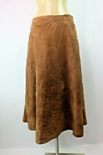 Toffs VTG 70s Tan Leather Suede Skirt Womens 14 A-Line Square Dance Western