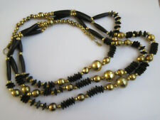 Triple Strand Beads Necklace Statement Black and Gold