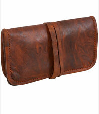 Handmade Vintage Goat Leather Tobacco Pouch Unisex Make up wrap Small Brown