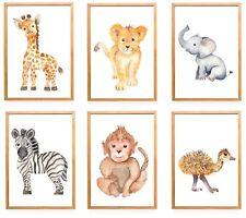 6er Set Tiere Kinderzimmer Bilder  Babyzimmer Bilder | Junge Mädchen Poster
