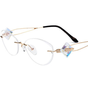 Handmade Luxury Titanium Woman Girl Eyeglass Frames Rimless Glasses Eyewear