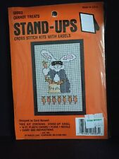 NEW vintage X Stitch Kit:  STAND-UPS (easel) CARROT TREATS Rabbit w/mask 14ct