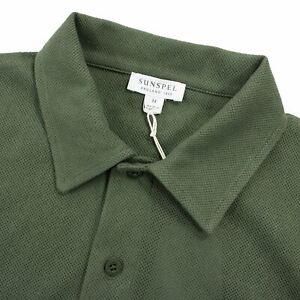 NWT Sunspel Green Cotton Open Weave Short Sleeve Polo Shirt Medium