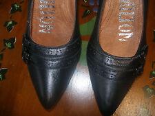 REBAJAS preciosos zapato mujer piel con tacon talla nº 41 negros hebillas NUEVOS