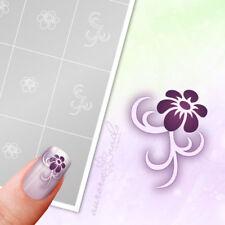 Schablonen für Airbrush und Nailart FS012 Ornament Floral Blüte Blätter 40x kleb