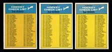 1969-70 OPC 1969 O-PEE-CHEE~31~CHECKLISTS~ALL 3 VARIATIONS~UNMARKED~CENTERED~(3)