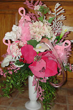 Mom Sister Grandma Friend Daughter Urn Vase Pink Ribbon Breast Cancer Cemetery