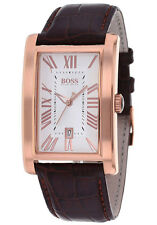 **NEW** MENS HUGO BOSS ROSE LEATHER GOLD CLASSIC  WATCH - 1512710 - RRP £199