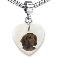 Dachshund Dog Heart Dangle Mother Of Pearl European Bracelet Charm Bead EBS144