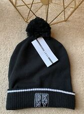 DKNY BLACK WHITE KNIT BOBBLE WINTER HAT ONE SIZE NEW UNISEX MENS WOMENS