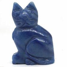 "2;3"" Cat Figurine Natural Gems Blue Quartz Carved Stone Animal Statue Decor 4016"