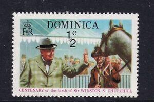 DOMINICA 25 NOV 1974 WINSTON CHURCHILL 1/2 CENT COMMEMORATIVE STAMP MNH