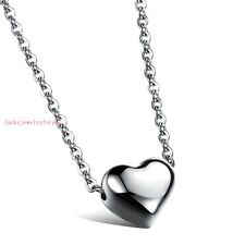 Lovely Womens Silver Heart Pendant Stainless Steel Sparkle Choker Chain Necklace