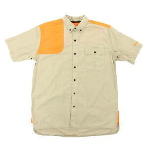 """GameGuard Men Large 47"""" Schlumberger S/S Button Shooting Shirt Orange Tan"""