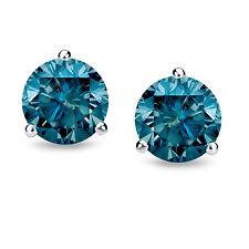 1ct 14k White Gold Martini Set Blue Diamond Stud Earrings