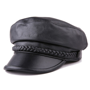 Women Newsboy Hats Black Sheepskin Genuine Leather Ladies Beret Painter Caps