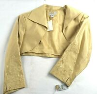 New Talbots Women's Size 10 Petite Gold Silk Blend Shoulder Shrug Bolero Jacket