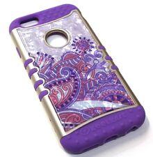 for iPhone 6 6s Purple Flower Crystal Design Hard & Soft Hybrid Koolkase Case