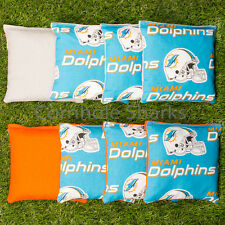 Cornhole Bean Bags Set of 8 ACA Regulation Bags Miami Dolphins Free Shipping!