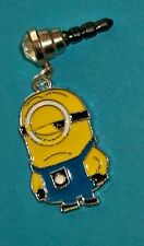 Cell Phone Anti Dust Plug Cover Cellphone Rhinestone Dangle Charm One Eye Minion