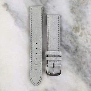 Suede Leather Watch Strap - Light Grey - 18mm