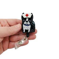 Boston Terrier Nurse Badge Reel Clip Dog ID Holder RN Animal Name Tag Lanyard