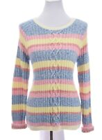 Talbots Womens Cable Knit Sweater Striped Color Block Pink Blue Pink Sz Medium