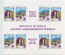 TIMBRE DE MONACO BLOC N° 49 ** BATIMENTS POSTAUX D'HIER ANCIENNE POSTE COTE 30 €