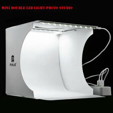 Dual LED Light Room Photo Studio Photography Lighting Tent Backdrop Cube Box