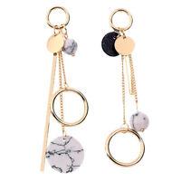 Woman Elegant Big Round Circle Long Dangle Hoop Studs Earrings Geometric Earring