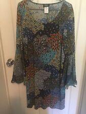 MSK Woman Plus Size Flutter Sleeve Blue Green Yellow Print Dress 2X New No Tags