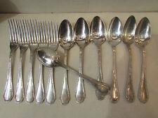 7 anciennes cuilleres 5 fourchettes metal argenté poincon st LXVI mono AL ercuis