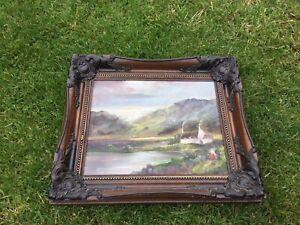 Vintage Framed Original Oil Painting Moody Sky Scene Cottage Mountains Loch