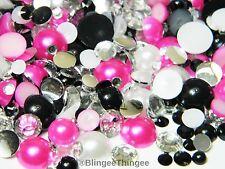 2000 Flatback Hot Pink White Black Clear Rhinestones Faux Pearls 3/4/5/6/8/10mm