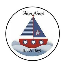 "48 Ships Ahoy its a Boy!  ENVELOPE SEALS LABELS STICKERS 1.2"" ROUND"