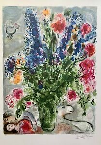 Marc Chagall LES LUPINS BLEU Limited Edition Facsimile Signed Lithograph Art