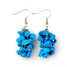 1 Natural Pair of Blue Howlite Gemstone Cluster Dangle Fashion Earrings - # B311