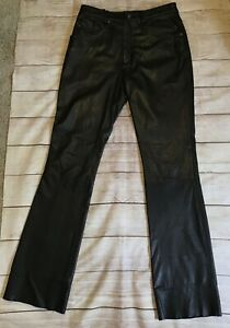 """WILSONS Black Leather Bootcut Motorcycle Pants Size 12 UNHEMMED 34"""" Inseam"""