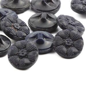 Lot (12) Czech Vintage dark blue flower glass buttons 13mm