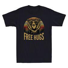 Bear Free Hugs Sunset Vintage Retro Tee Funny Men's Cotton T-Shirt