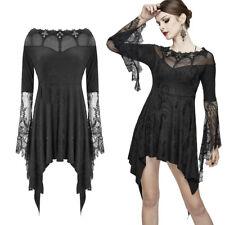 Romántico negro Gothic Puntas de Manga larga-mini-vestido black dress