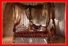 Klasisches handgschmiedetes doppel Himmelbett Wiking 160 x 200 + Lattenrost
