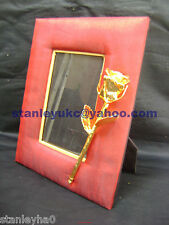 ANNIVERSARY/BIRTHDAYGIFT Photo Frame Vintage Red Silk and 24K Gold Dipped Rose