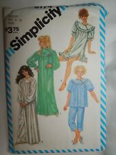 Pajamas Nightgown Gown Simplicity Sewing Pattern 6174 M 14 16 VTG 80's UC FF