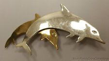 Vintage Estate Jewelry .925 Sterling Silver Two Dolphins Brooch Pin