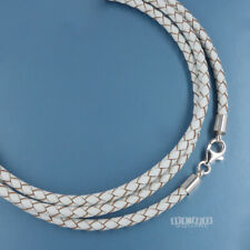 """24"""" Sterling Silver 3mm Round Braided Genuine Leather Cord Necklace, Lobster"""