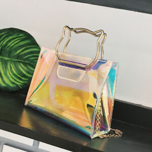 Exquisite Women Transparent Bag Small Tote Bags Laser Holographic Shoulder Bags
